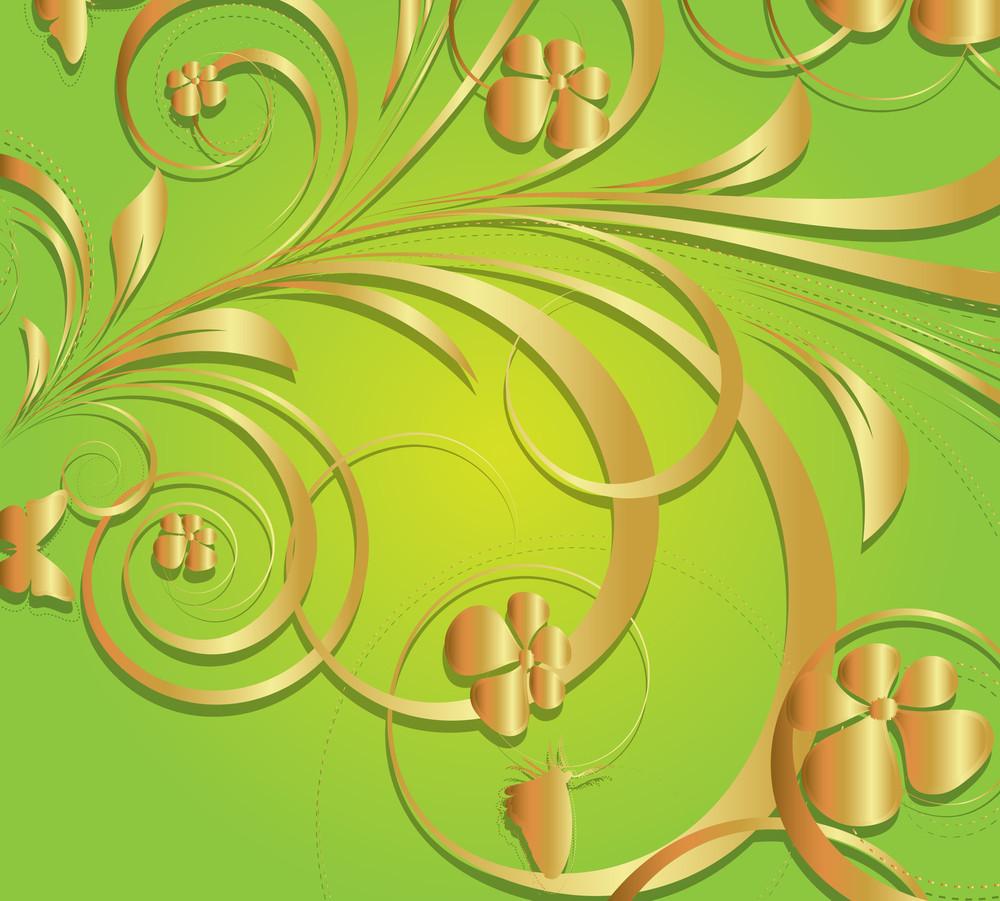 Vintage Decorative Golden Floral Background