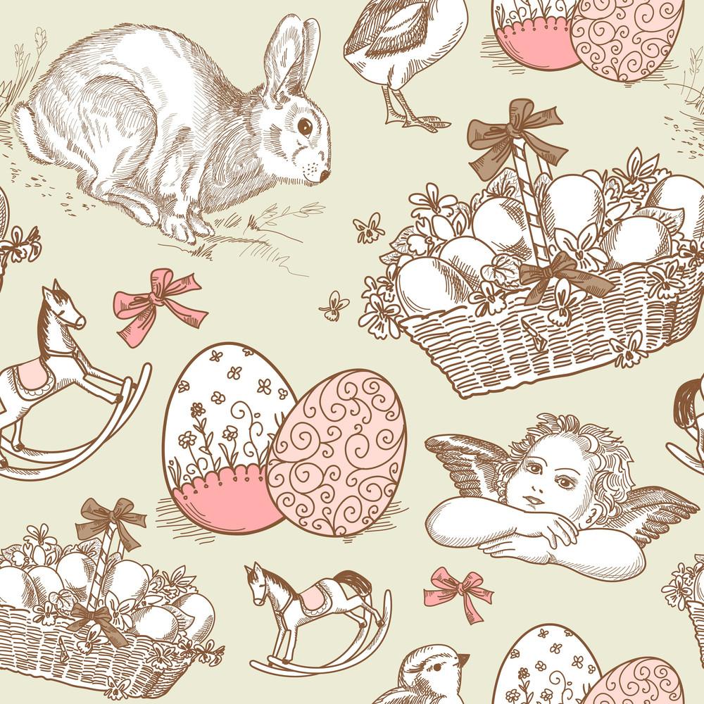 Vintage Easter Seamless Background