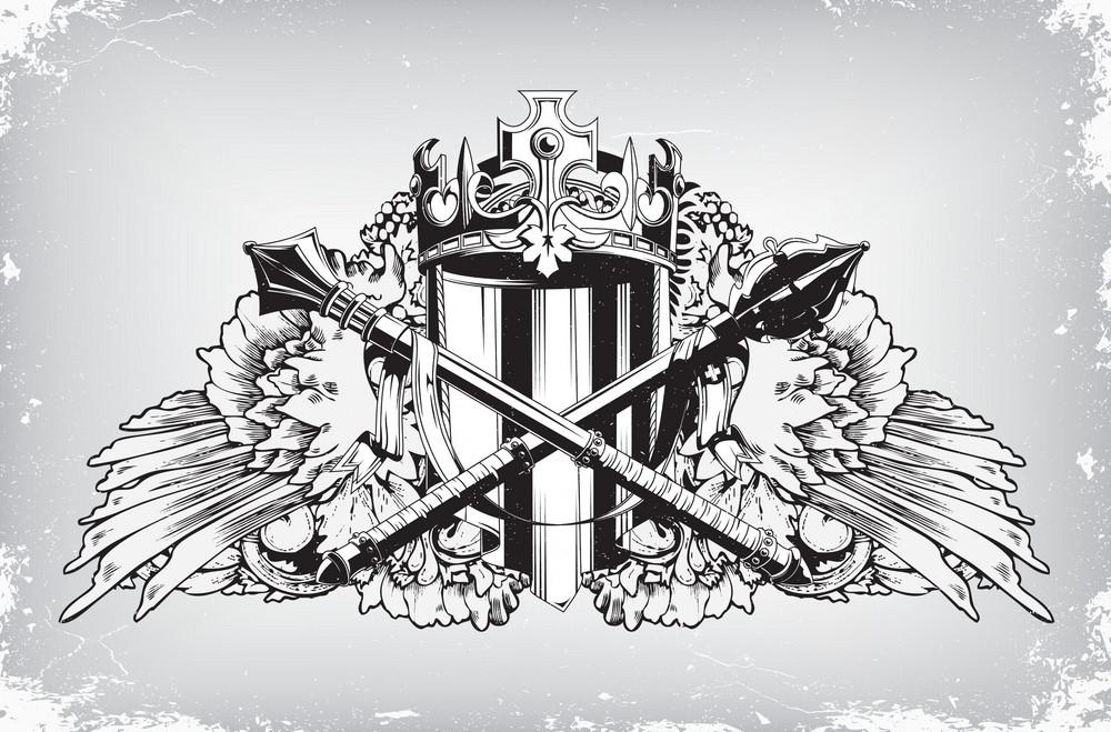 Vintage Emblem With Crest Vector Illustration