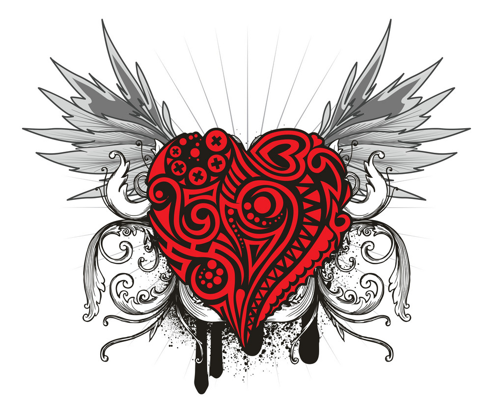 Vintage Emblem With Wings And Heart