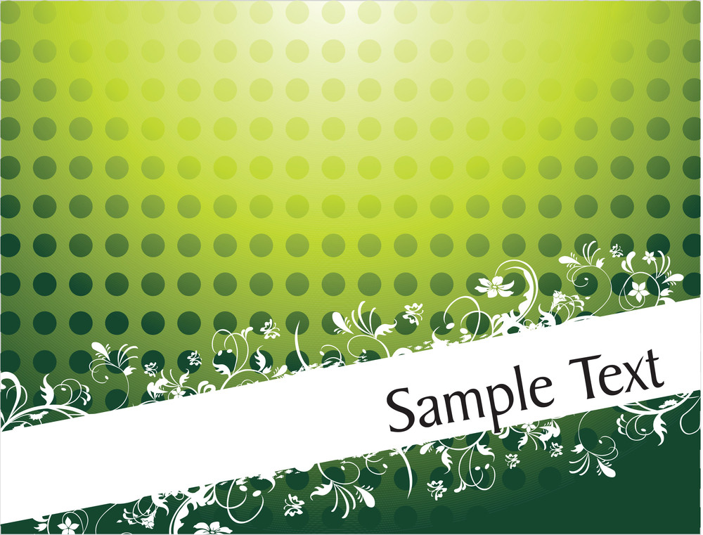 Vintage Floral Background For Sample Text In Gradient Green