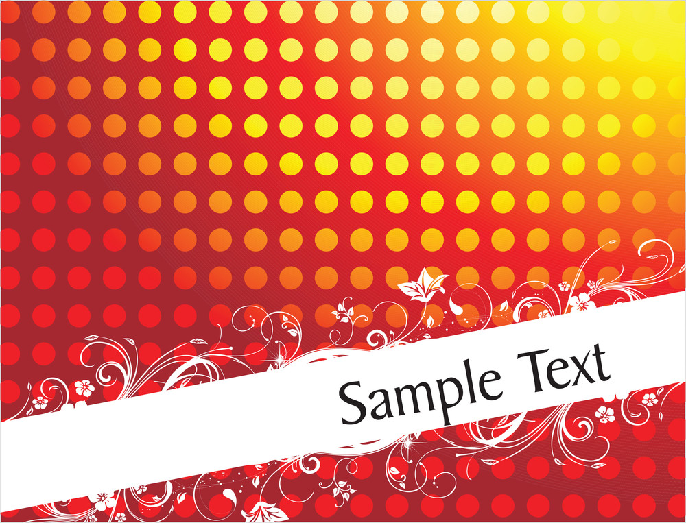 Vintage Floral Background For Sample Text In Gradient Red
