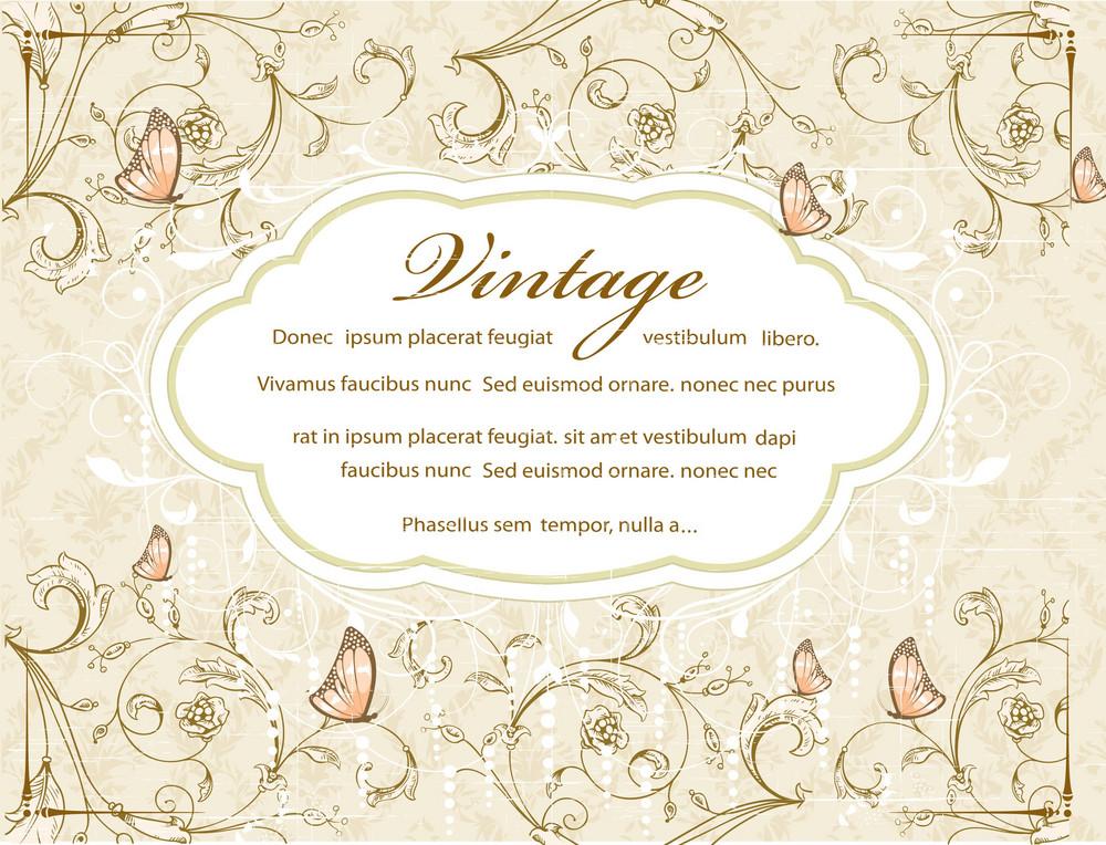 Vintage Floral Background With Label Vector Illustration