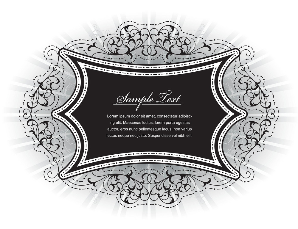Vintage Floral Frame With Rays Vector Illustration