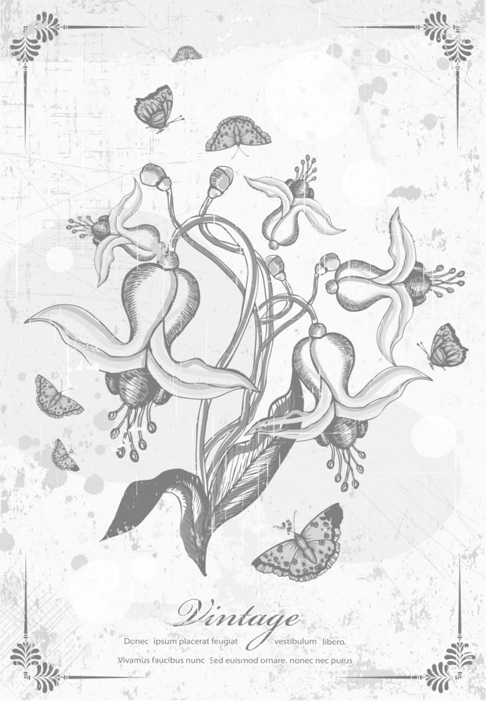 Vintage Floral Vector Illustration