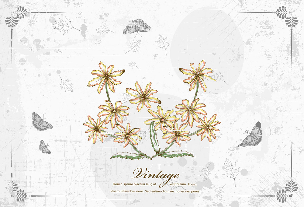 Vintage Floral Vector Illustration