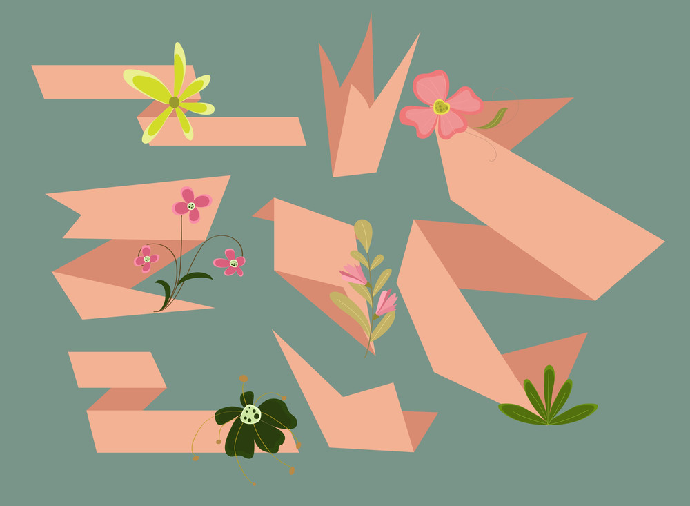 Vintage Flowers Origami Paper Banners