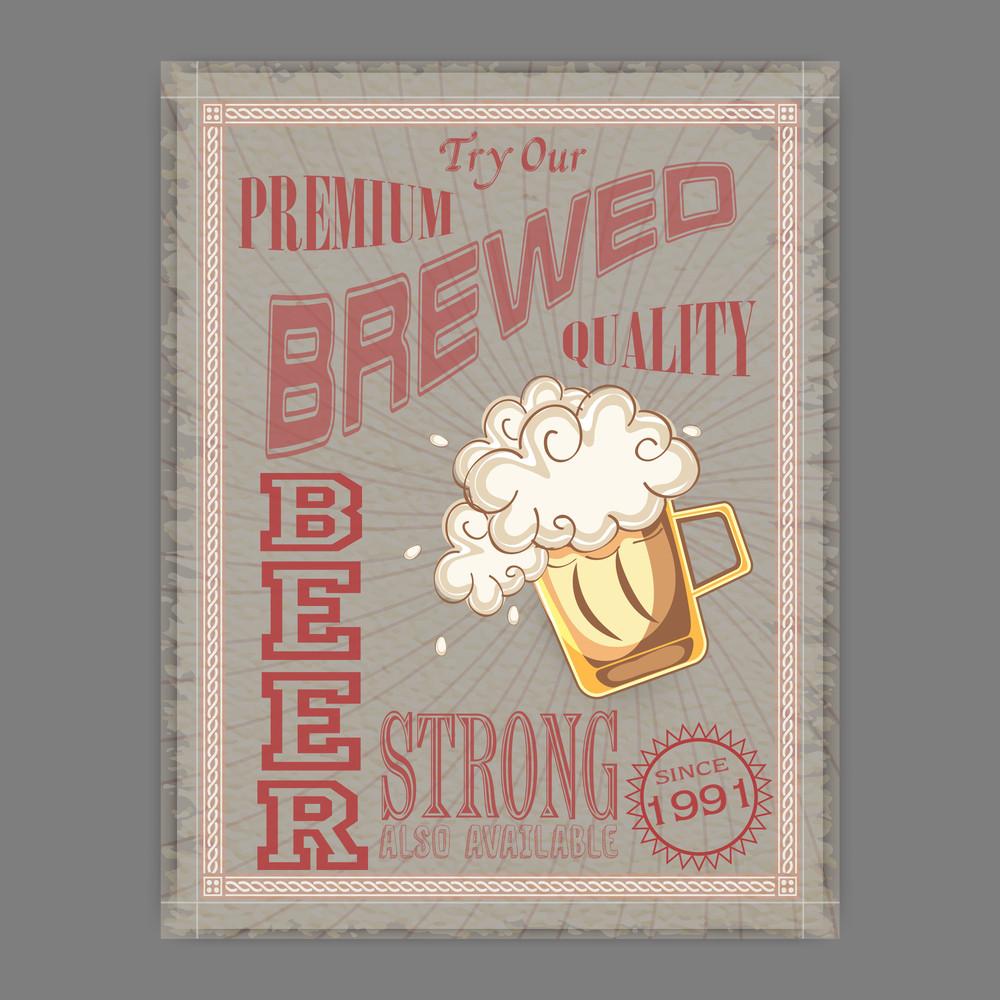 Vintage flyer or template presentation of Premium Strong Beer for ...