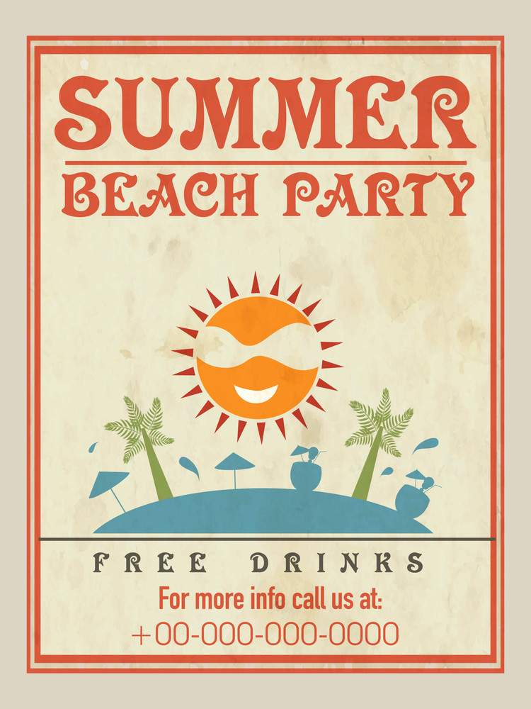 Vintage Flyer Template Or Banner Design For Summer Beach Party