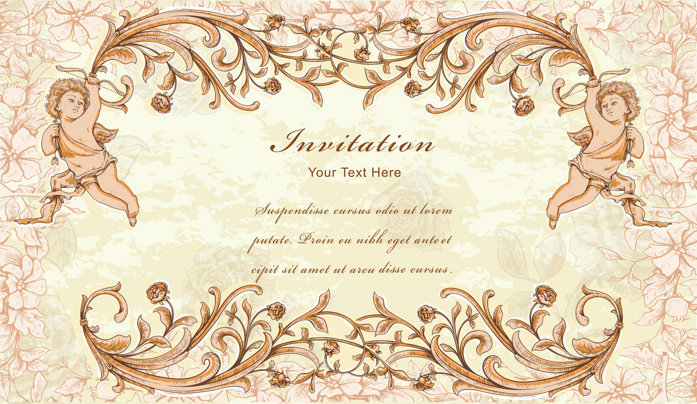 Vintage Frame With Angel Vector Illustration