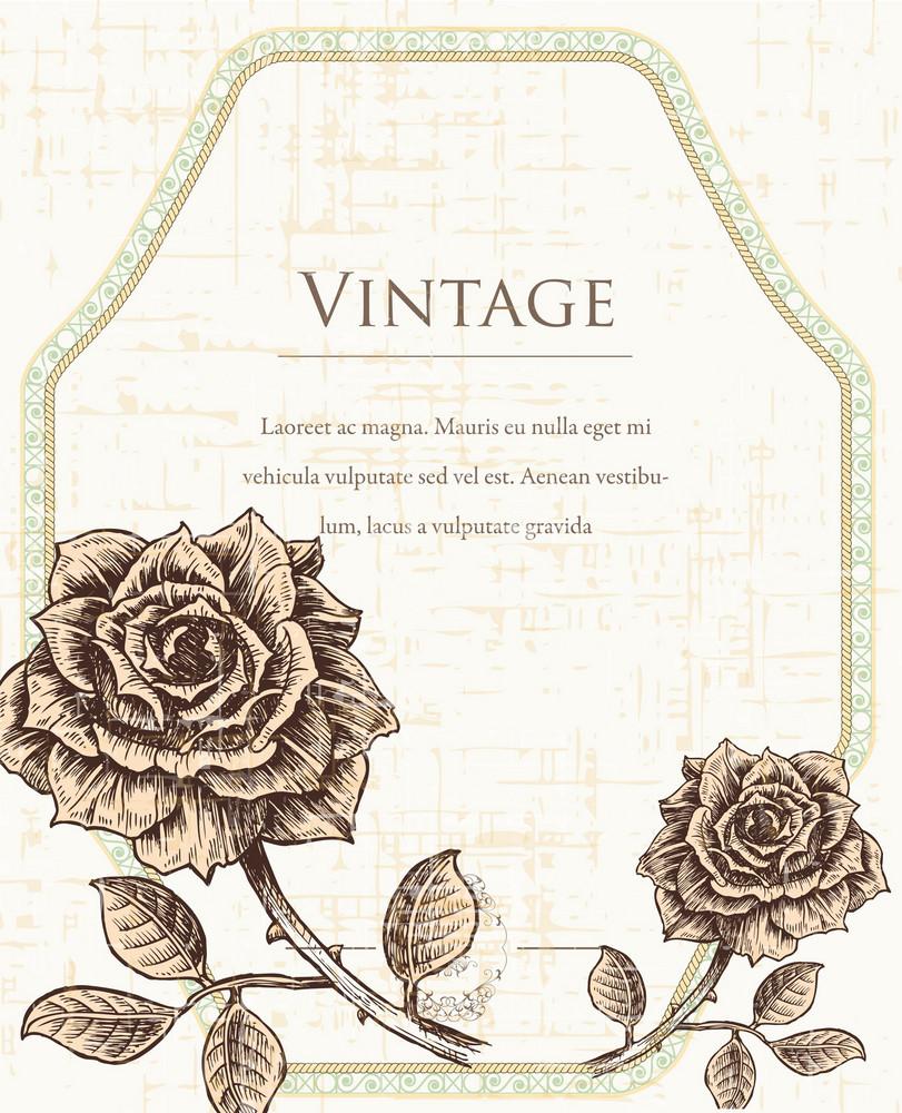 Vintage Frame With Floral Vector Illustration
