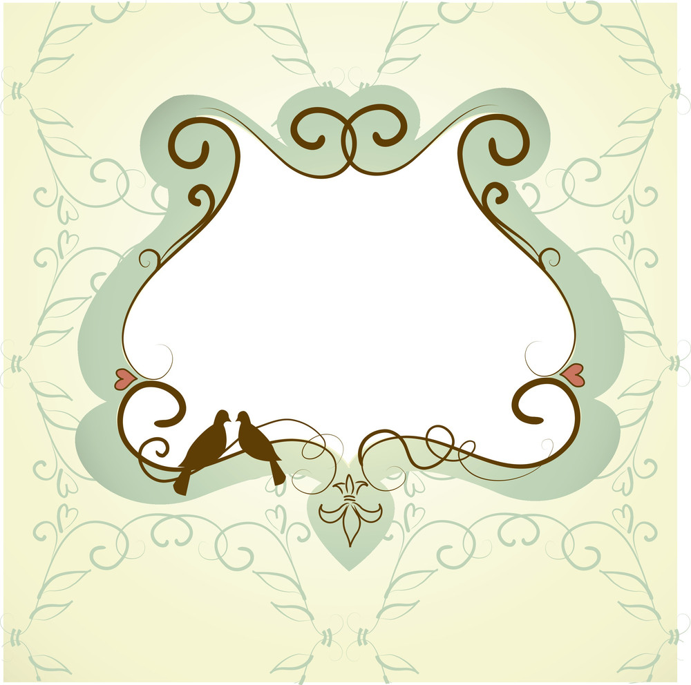 Vintage Frame With Two Kissing Doves