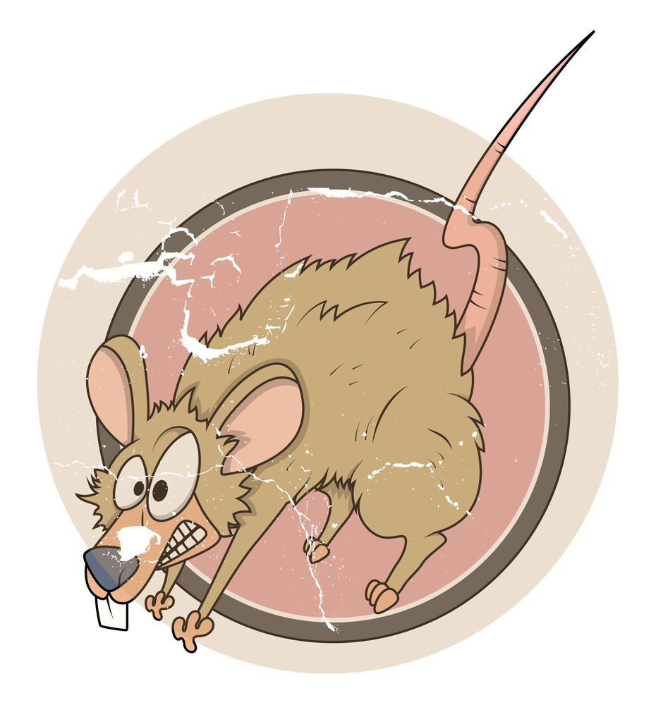Vintage Frightened Mouse Cartoon Grunge Vector Sticker