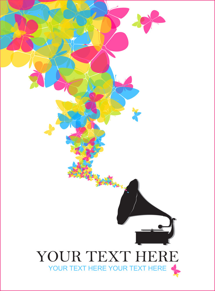 Vintage Gramophone With Butterflies. Abstract Vector Illustration.