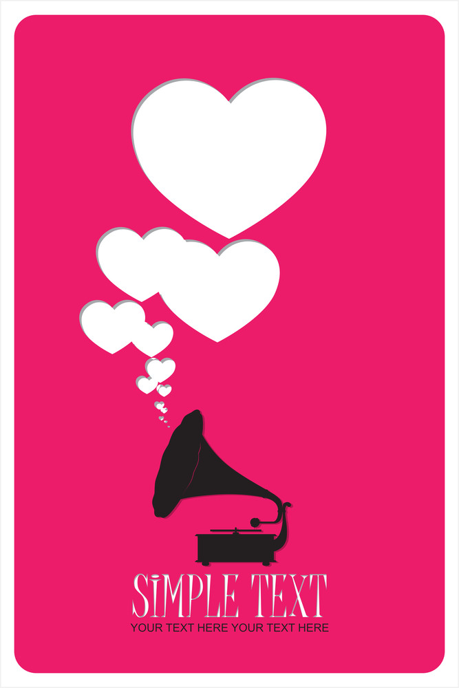 Vintage Gramophone With Hearts. Abstract Vector Illustration.