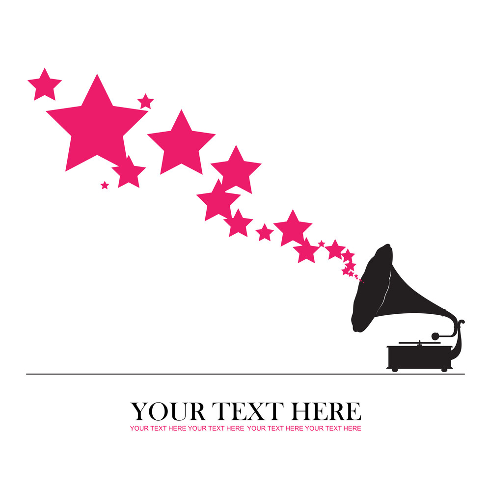 Vintage Gramophone With Stars. Abstract Vector Illustration.