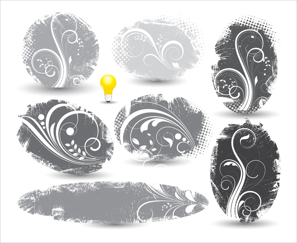 Vintage Grunge Flourish Banners With Bulb Icon