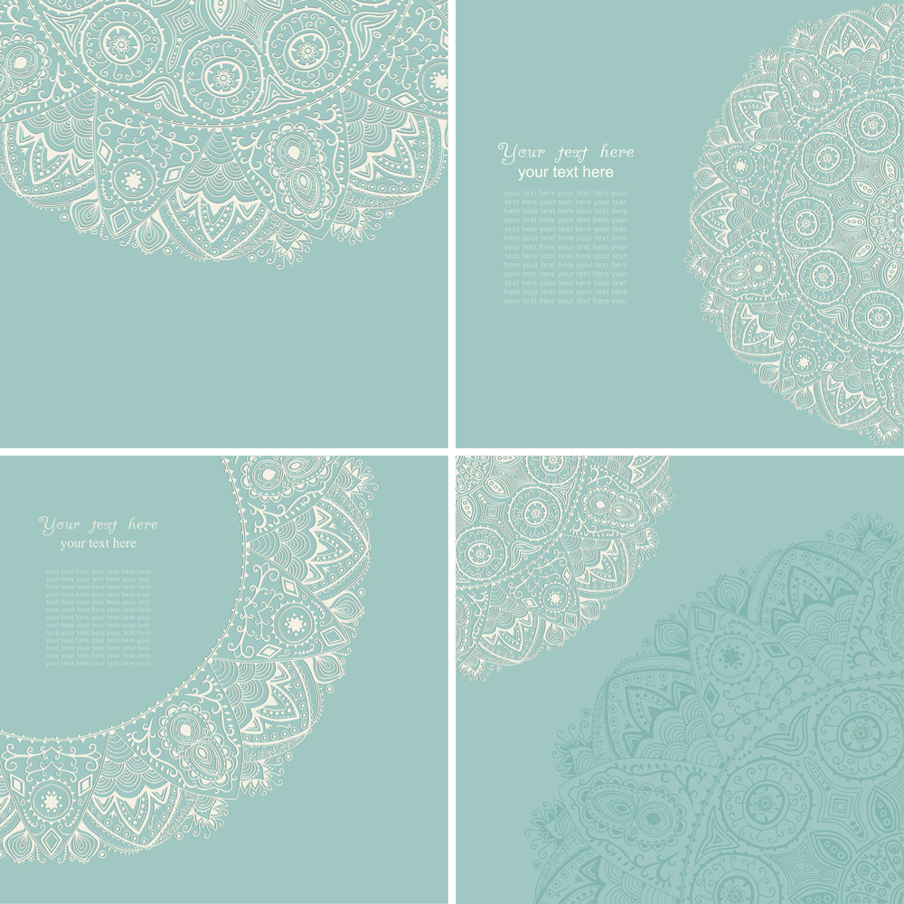 Vintage Invitation Card Set. Template Frame Design For Card. Vintage Lace Doily.can Be Used For Packaging