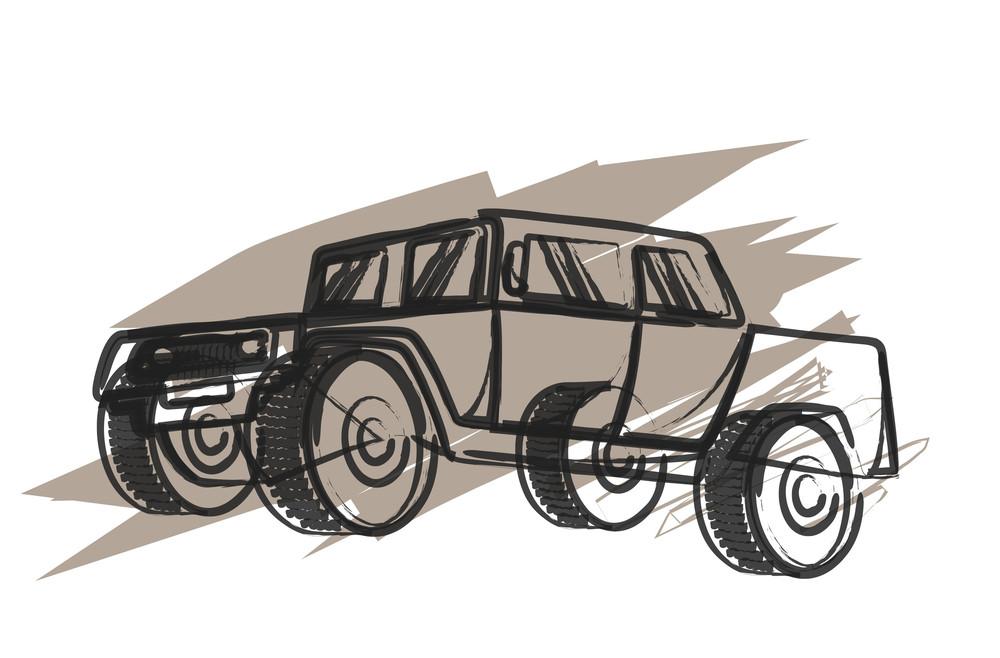 Vintage Jeep Drawing