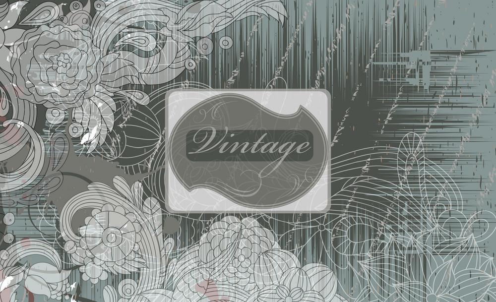 Vintage Label With Floral Vector Illustration