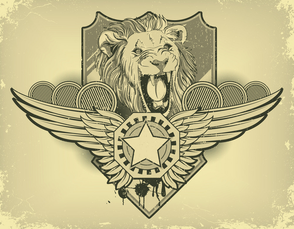 Vintage Label With Lion Head Vector Illustration