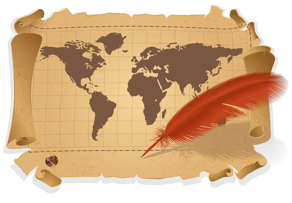 Vintage Map And Pen. Vector.