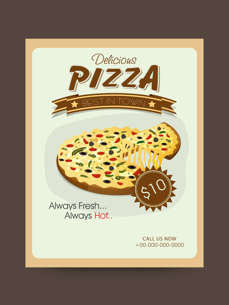Vintage Menu Card design decorated with delicious Pizza for restaurants and fast food shops.