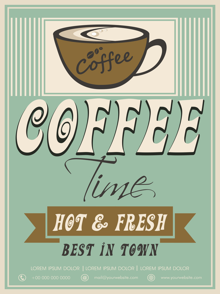 Vintage menu card design for Hot and Fresh Coffee.