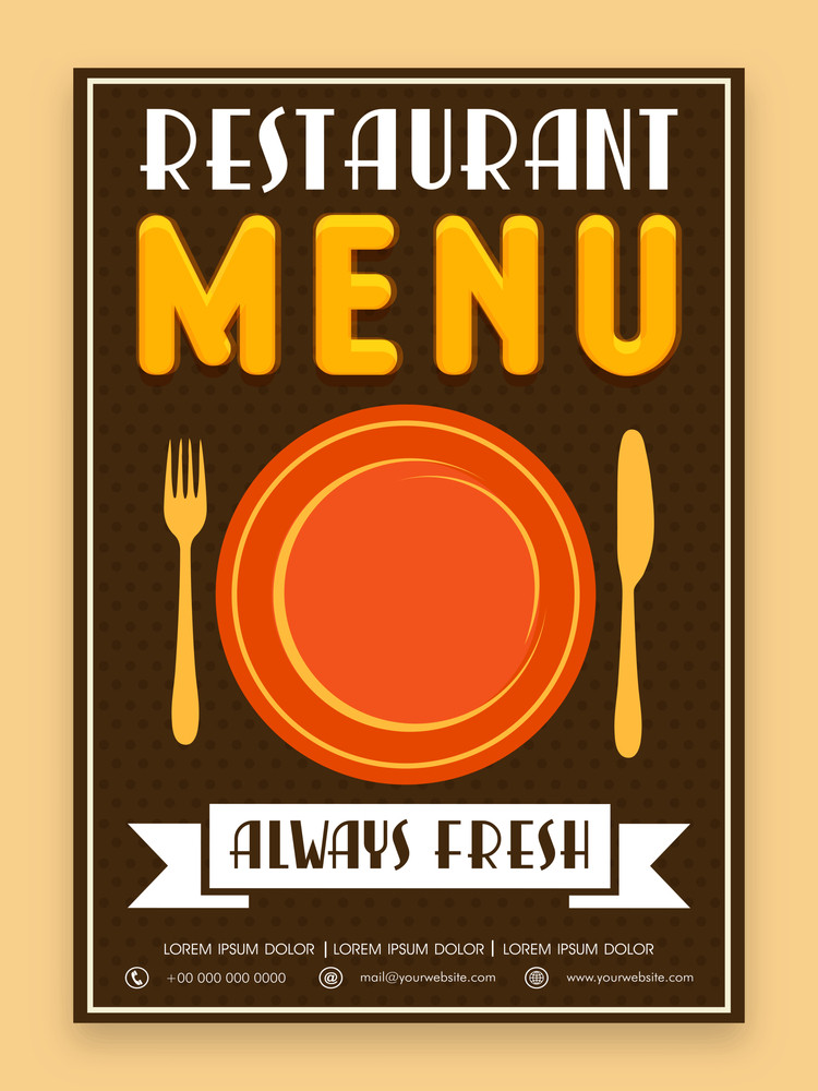 Vintage menu card design for Restaurant in brown color.