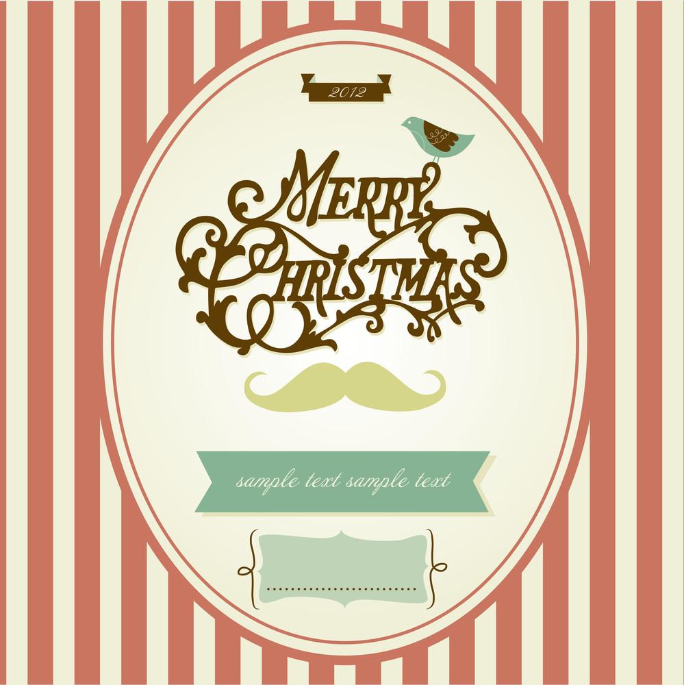 Vintage Mustache Christmas Template