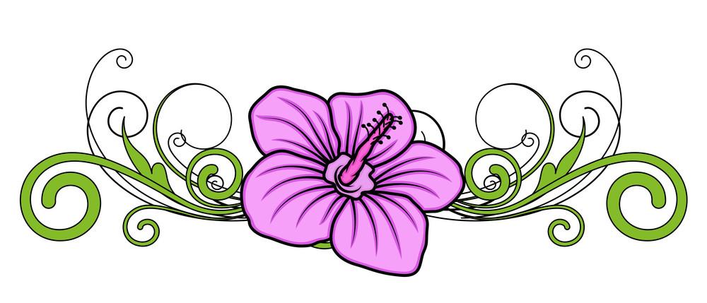 Vintage Pink Flower Divider Vector