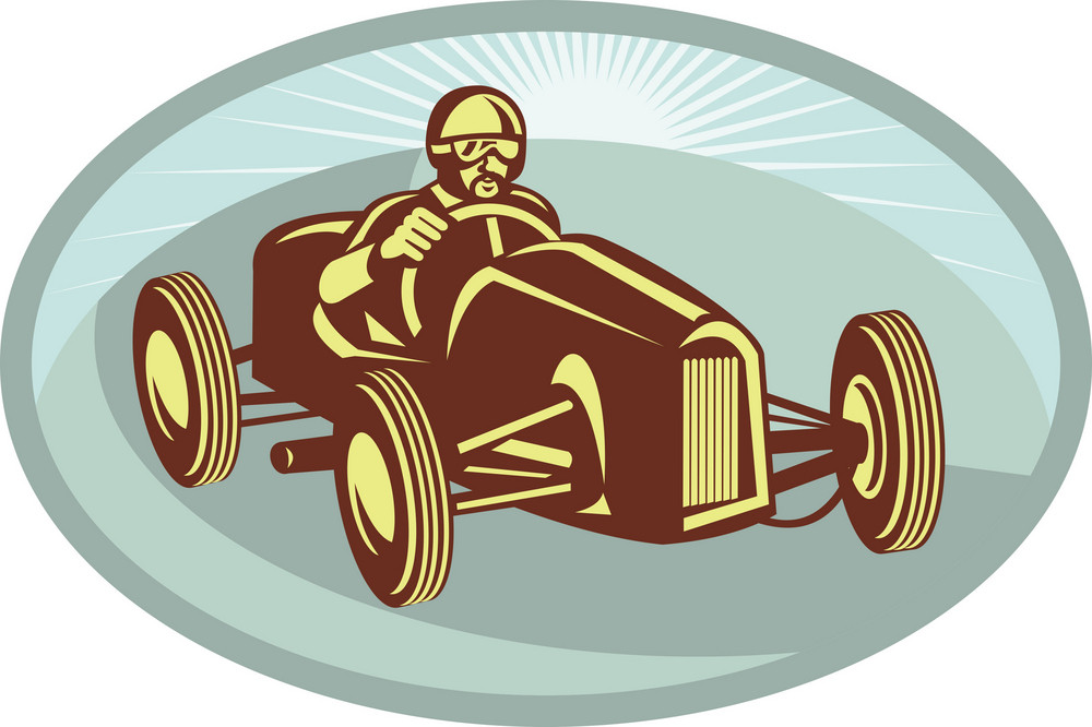 Vintage Race Car Driver Racing With Sunburst