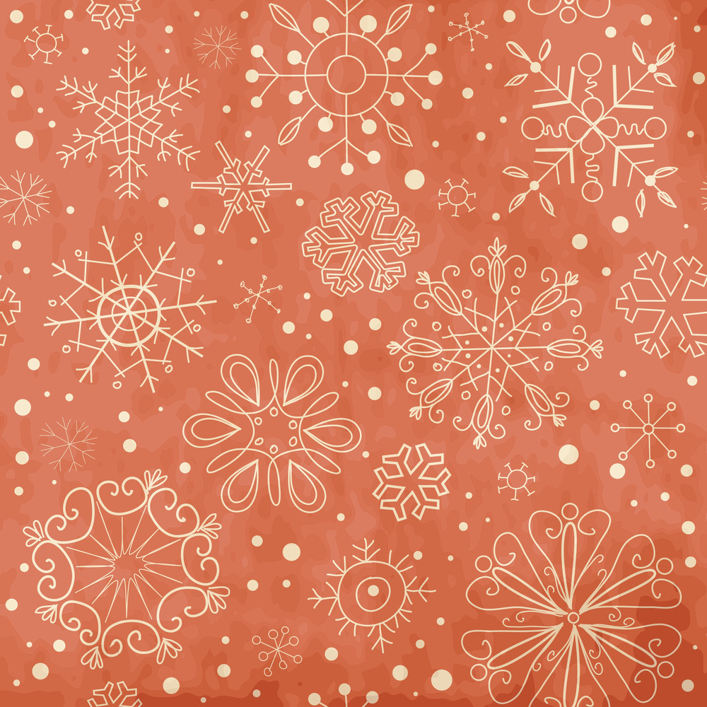 Vintage Red Seamless Ornament With Snowflakes