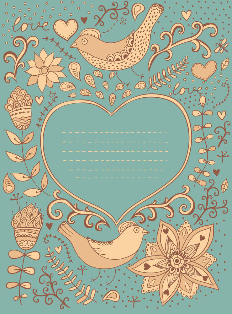 Vintage Retro Background With Floral Ornament And Heart In The Middle.you Can Design Cards