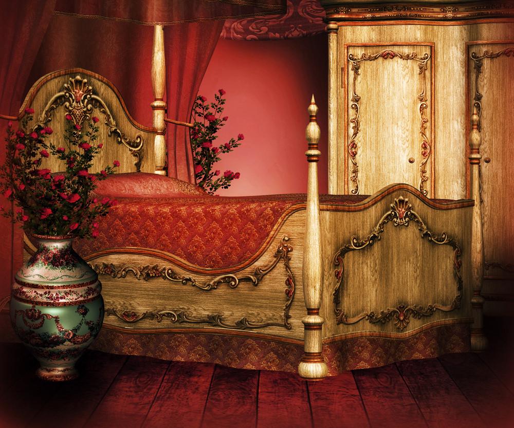 Vintage Room Premade Red Background