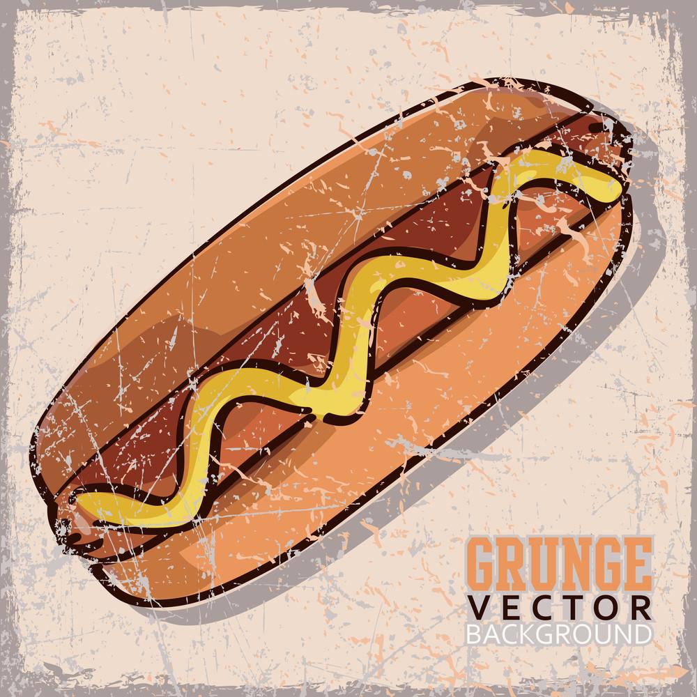 Vintage Scratched Background With Cartoon Hotdog.