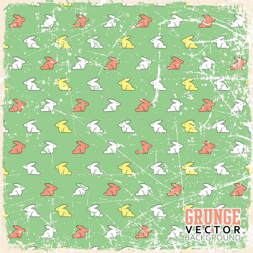 Vintage Scratched Background With Cartoon Rabbits