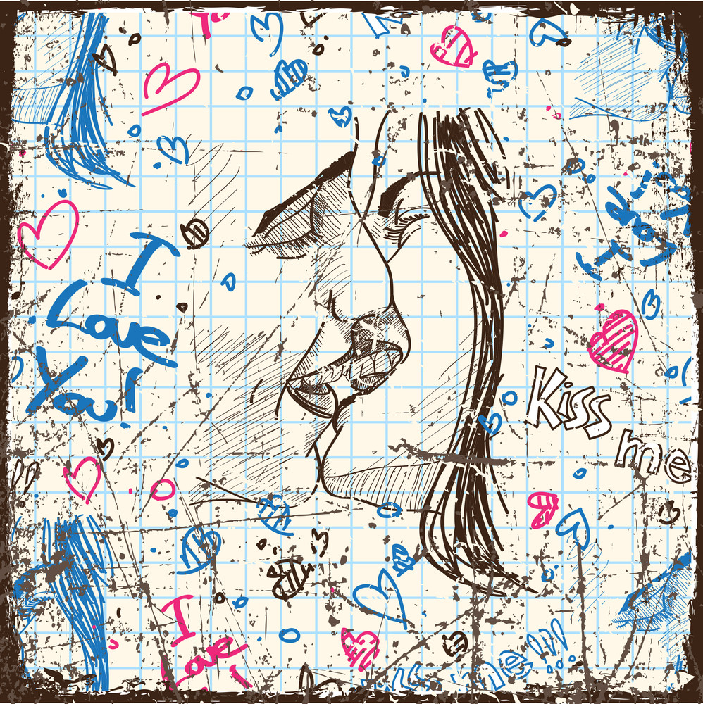 Vintage Scratched Background With Kissing Boy And Girl.