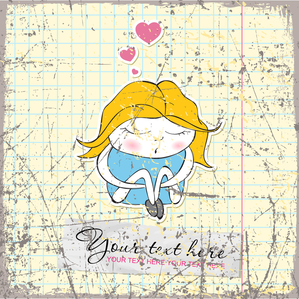 Vintage Scratched Background With Little Girl Character.