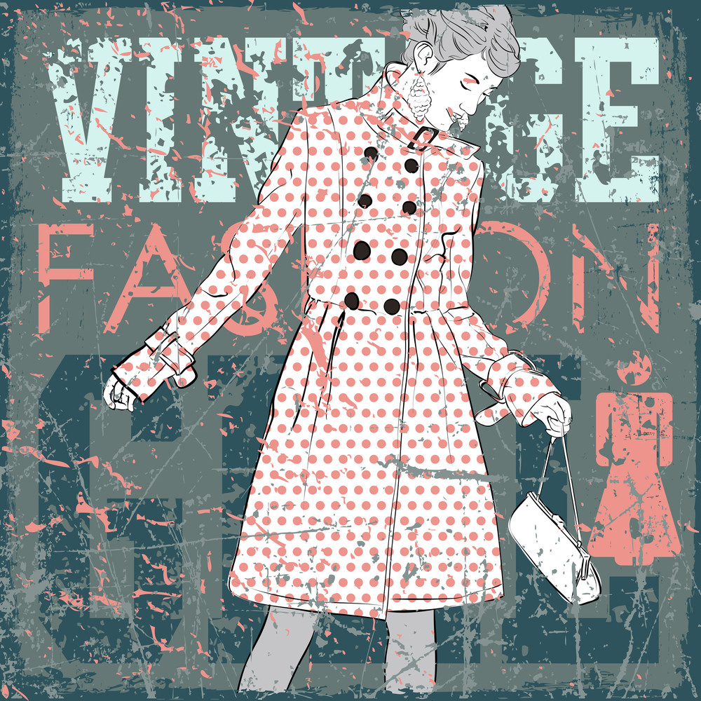 Vintage Scratched Background With Pretty Fashion Girl.