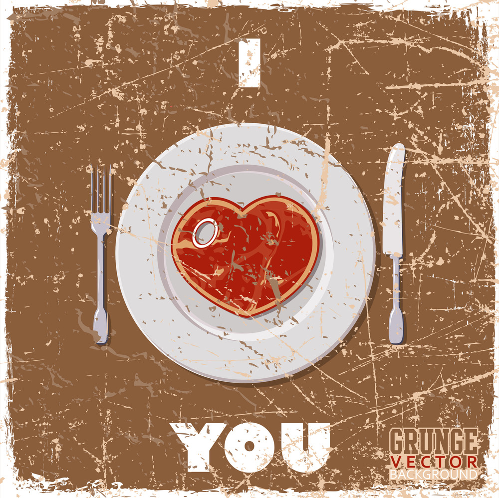Vintage Scratched Background With Steak-heart.
