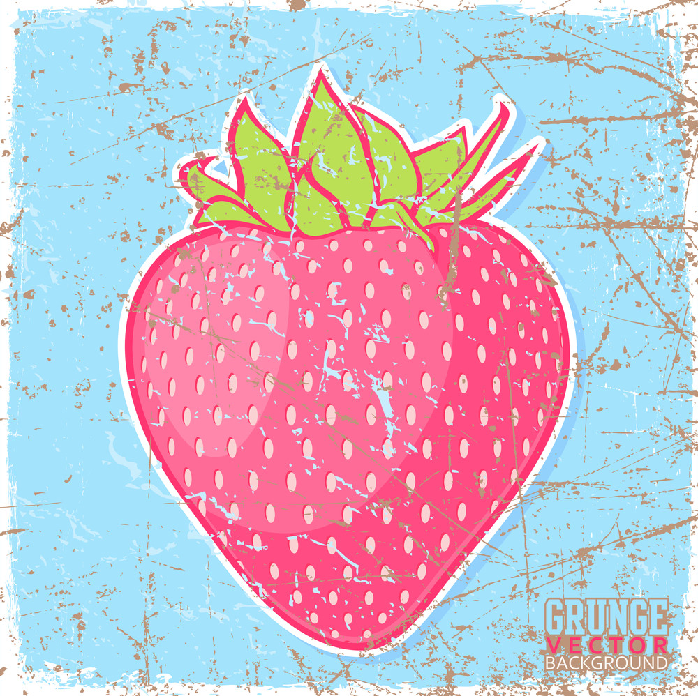 Vintage Scratched Background With Strawberries