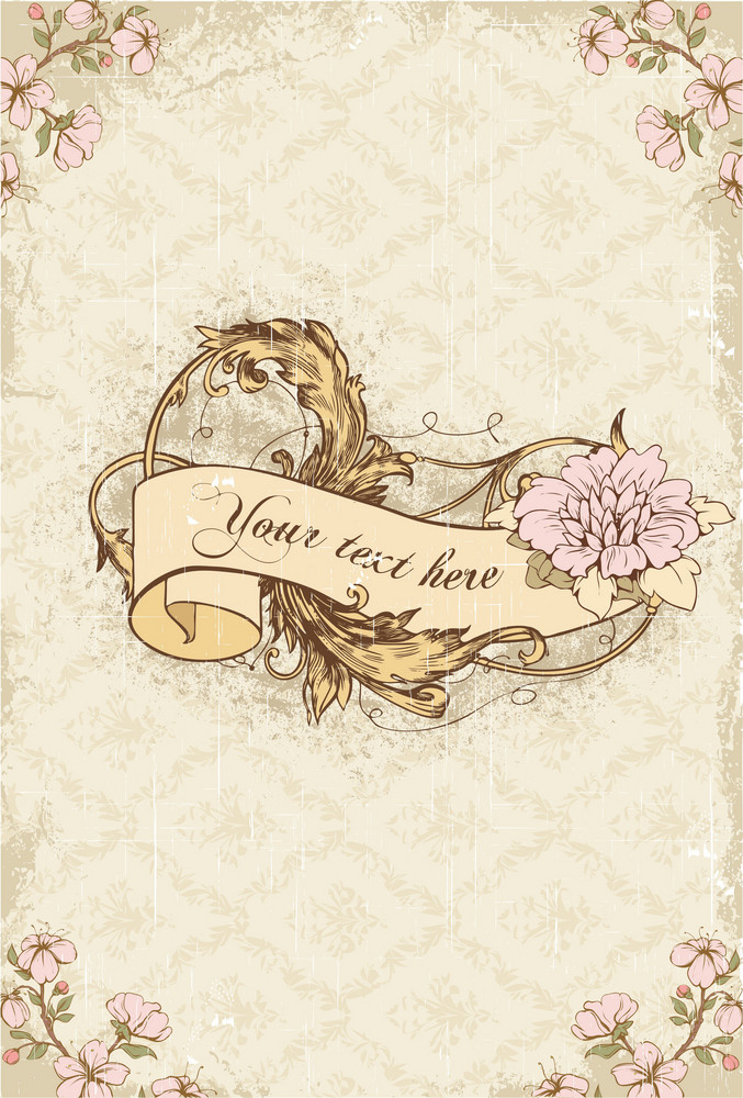 Vintage Scroll With Floral Vector Illustration
