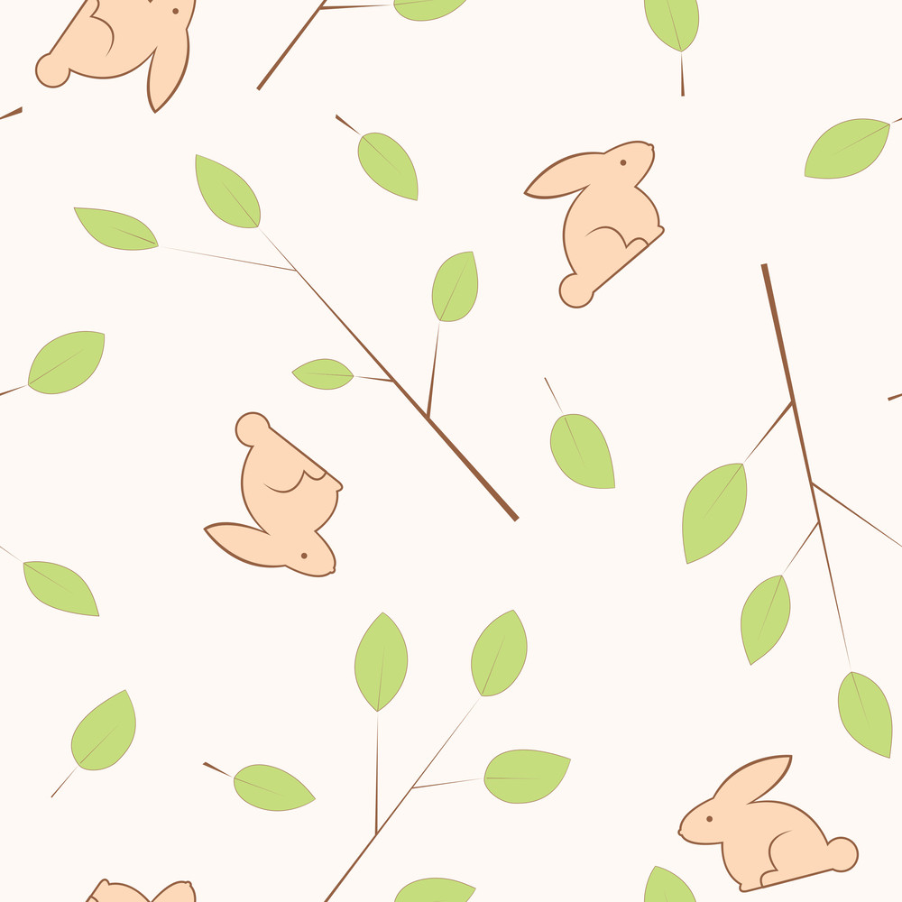 Vintage Seamless Texture With Leafs And Rabbits. In Cold Color. Vector Illustration.