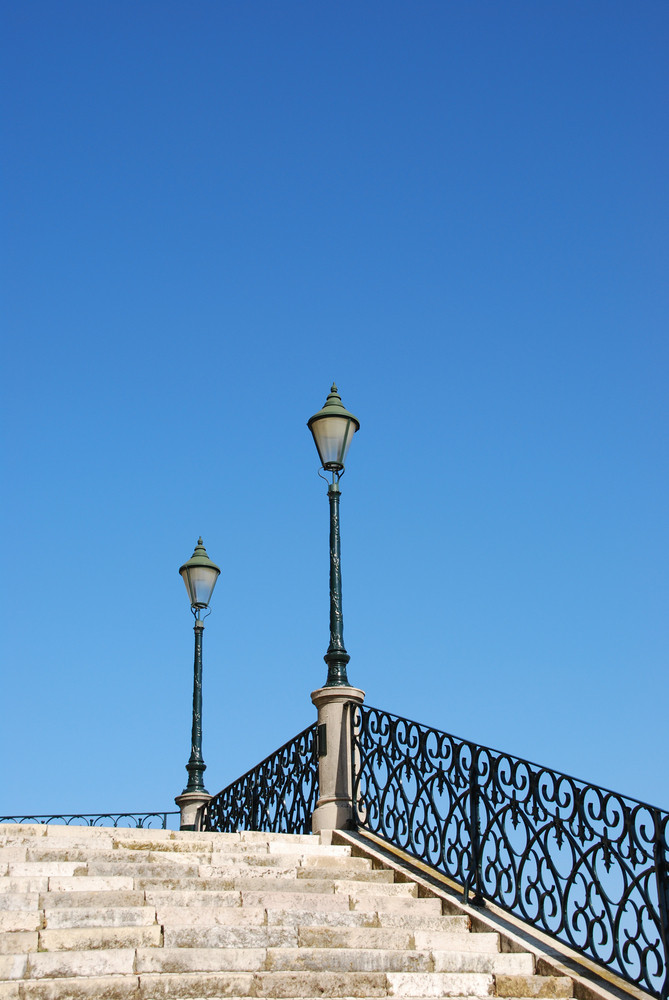 Vintage Stairway With Traditional Lamp Post (blue Sky)