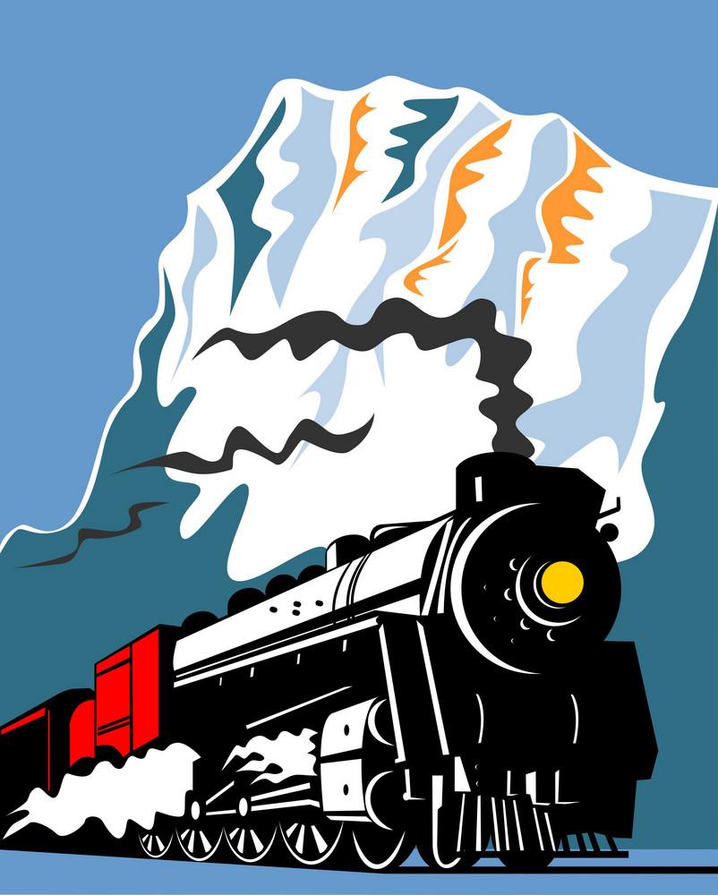 Vintage Steam Train Locomotive Retro