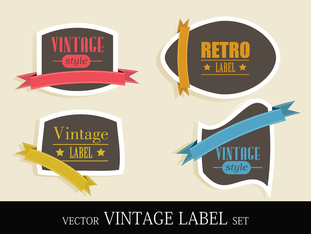 Vintage Style Colorful Labels With Retro Design And Ribbon. Eps10