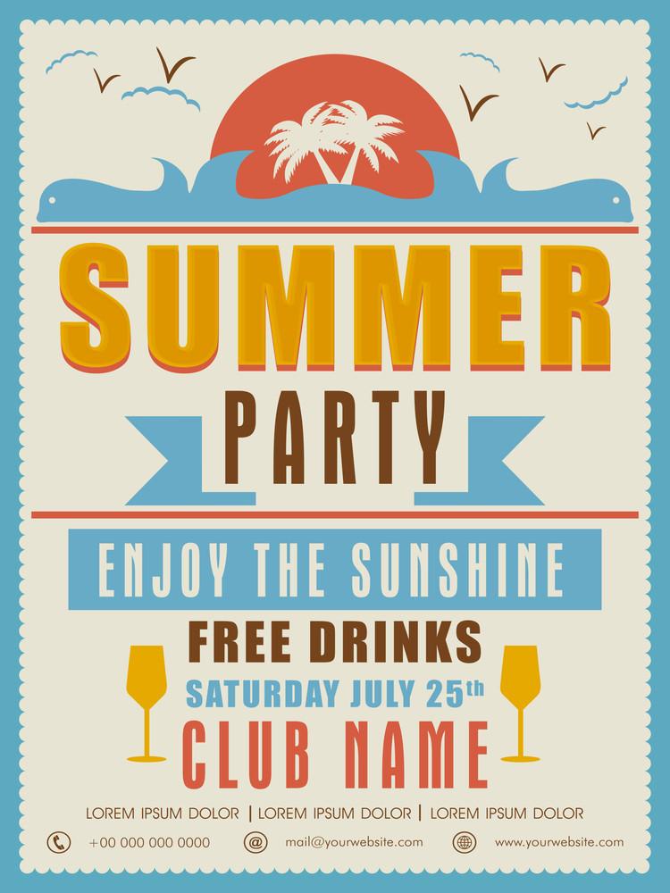Vintage Summer Party Invitation Card Design With Details