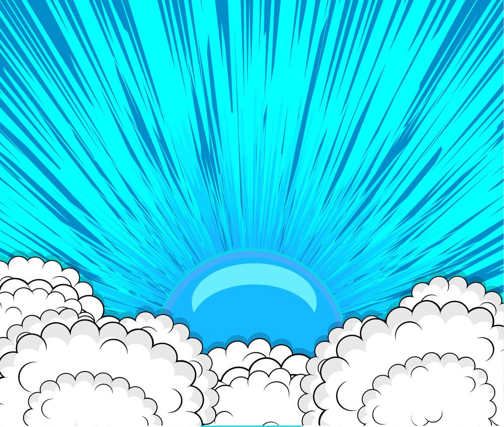 Vintage Sunburst Clouds Background
