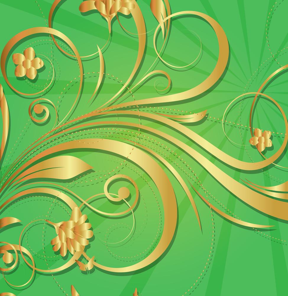 Vintage Sunburst Golden Flora Design